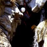 Discesa sul 4 salto del torrente Furria, vecchia foto dell'anno 1996
